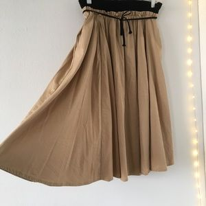 Zara High Waisted Smocked Khaki Midi Skirt Size M
